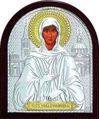 Серебряная с золочением икона Святая Блаженная Ксения Петербургская 11х9см