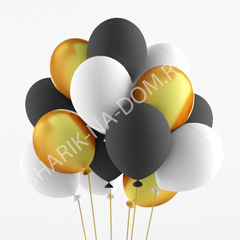 Облако из белых-черных-золотых шаров