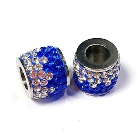 Фурнитура ювелирная - бусина со стразами белый+синий