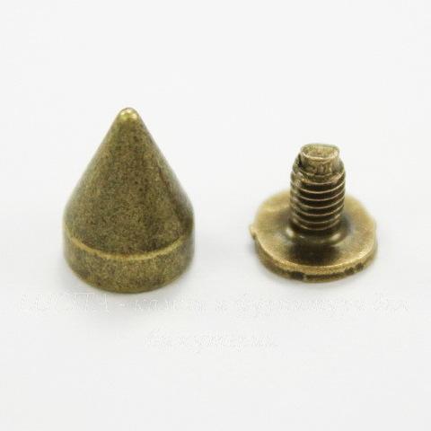 Шип винтовой из 2х частей (цвет - античная бронза) 10х7 мм, 7х6 мм