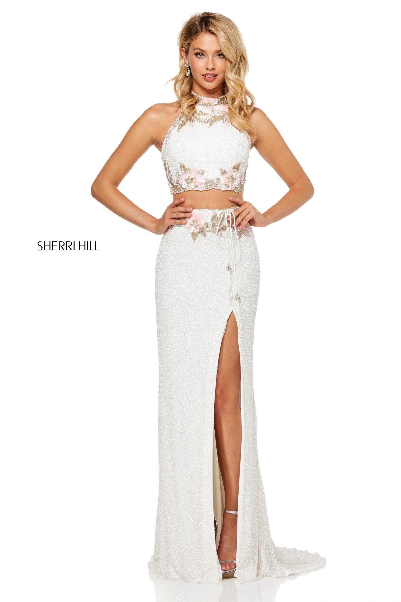 Sherri Hill 52682 Длинное платье кроп-топ (Crop Top)