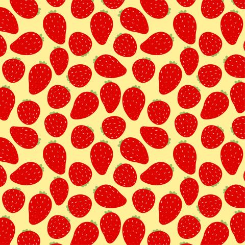 Красная клубника на желтом фоне