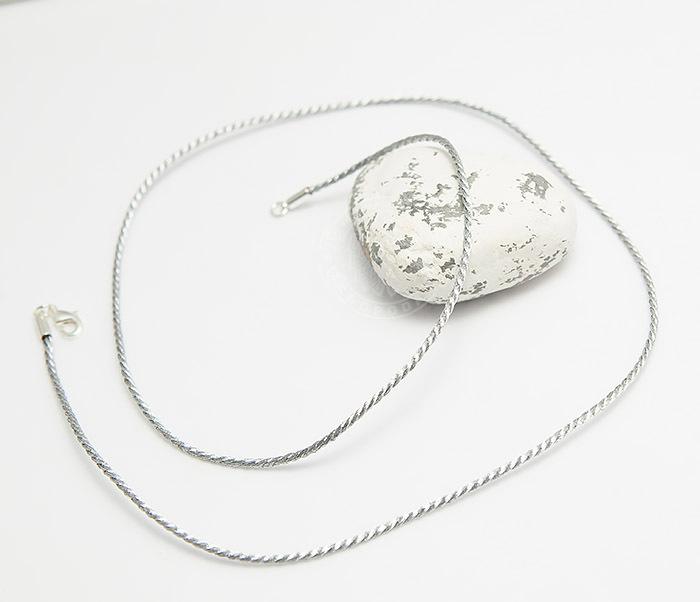 PL278-1 Шелковый шнур на шею (гайтан) серебристого цвета (55 см) фото 03