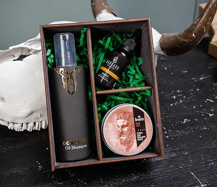 Набор и масляного шампуня, глины для волос и масла для бороды