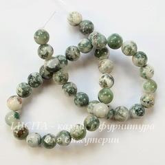 Бусина Агат Древесный, шарик, цвет - бело-зеленый, 10 мм, нить