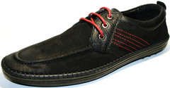 Кожаные мокасины мужские черные Luciano Bellini Black