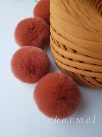 Помпоны, кролик 5-6 см, цвет Каштан, 2 шт