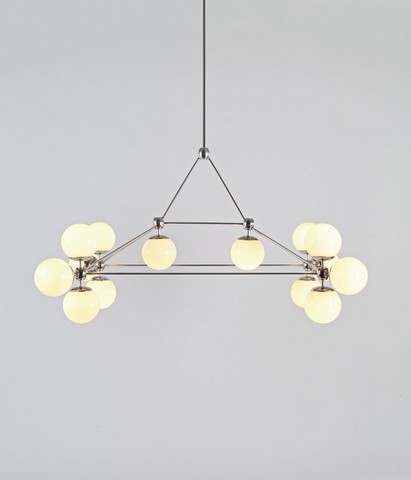 replica   ROLL&HILL  Modo Chandelier - Rectangle, 14 Globes ( white )