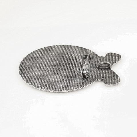 "Основа для броши с сеттингом для кабошона 40х30 мм ""Бантик"", 61х38 мм (цвет - античное серебро)"