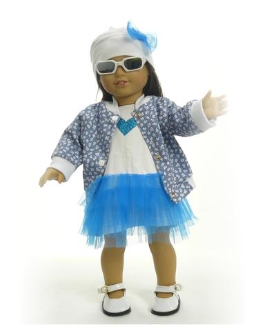 Комплект с джинсовой курткой - на кукле. Одежда для кукол, пупсов и мягких игрушек.