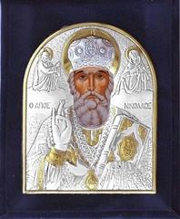 Николай Чудотворец. Маленькая серебряная икона в бархатном футляре.