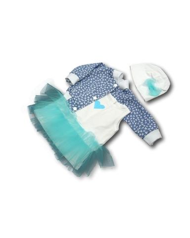 Комплект с джинсовой курткой - Бирюзовый. Одежда для кукол, пупсов и мягких игрушек.
