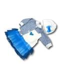 Комплект с джинсовой курткой - Голубой. Одежда для кукол, пупсов и мягких игрушек.