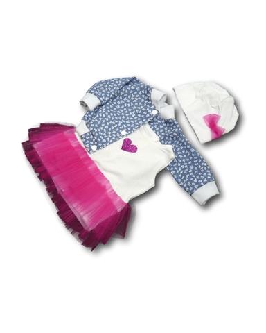 Комплект с джинсовой курткой - Розовый. Одежда для кукол, пупсов и мягких игрушек.