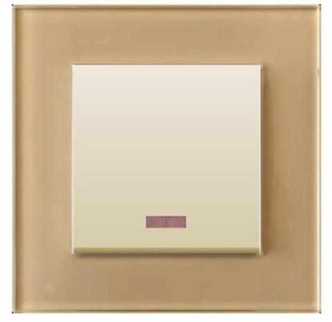 Выключатель одноклавишный, c индикатором (схема 1L) 16 A, 250 В~. Цвет Бежевый. LK Studio LK80 (ЛК Студио ЛК80). 840201