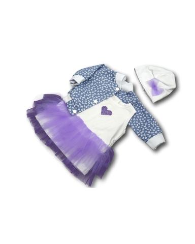 Комплект с джинсовой курткой - Сиреневый. Одежда для кукол, пупсов и мягких игрушек.