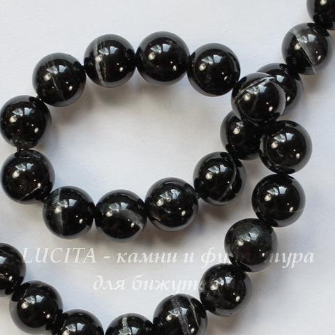 Бусина Турмалин (прессов), шарик, цвет - черный, 6 мм, нить