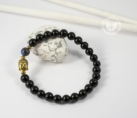 BS505-4 Браслет из натуральных камней с металлическим Буддой. &#34Boroda Design&#34