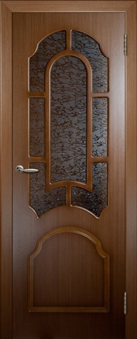 Дверь 3ДР3 (орех, остекленная шпонированная), фабрика Владимирская фабрика дверей