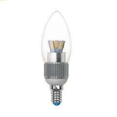 Лампа светодиодная (06943) E14 3W 3000K свеча прозрачная LED-C37P-3W/WW/E14/CL