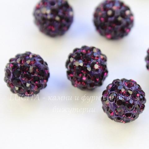 Бусина для шамбалы со стразами, цвет - темно-фиолетовый, 10 мм