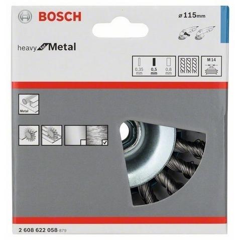 Коническая щетка BOSCH M14 0.5х115мм пучки сталь