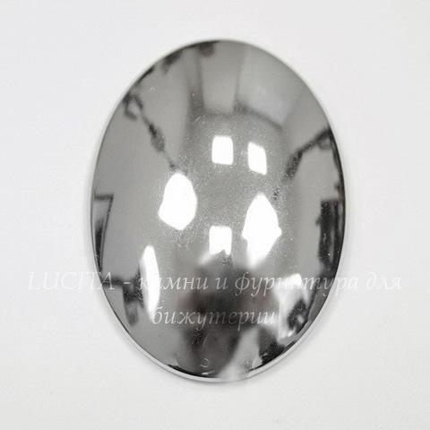 Кабошон овальный Гематит немагнитный серебряный, 29х23 мм (Картинка)