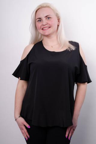 Меринда. Блуза для офиса плюс сайз. Черный.
