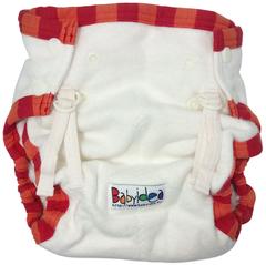 Пеленальные трусики на кнопках Babyidea Hour Extra Snap, Натуральный/Красный кант L/XL (80-92 см)