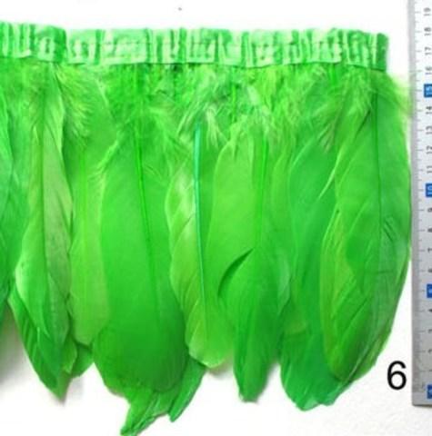 Тесьма  из перьев гуся h-20см., салатовый. Остаток 70 см.