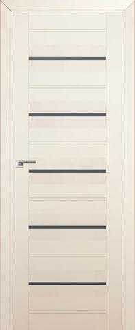 > Экошпон Profil Doors № 48 U, стекло графит, цвет магнолия сатинат, остекленная