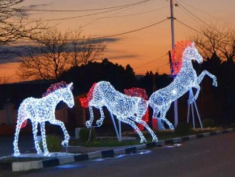 Световая фигура Конь с красной гривой