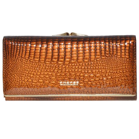 Коричневый кошелёк женский лаковый Coscet нат.кожа CS18-101C