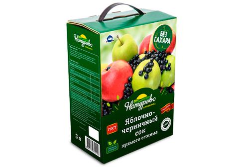 Сок яблочно-черничный прямого отжима, 3л