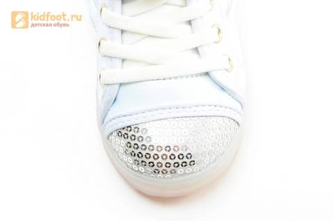 Светящиеся кроссовки с крыльями с USB зарядкой Бебексия (BEIBEIXIA), цвет белый серебряный, светится вся подошва. Изображение 17 из 18.