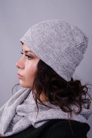 Фэшн. Молодёжные женские шапки. Серый ангора.