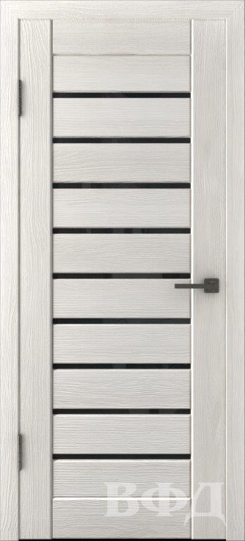 Л3ПГ5 Беленый дуб / черное стекло, Дверь межкомнатная,Владимирская Фабрика Дверей