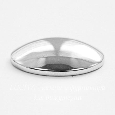 Кабошон овальный Гематит немагнитный серебряный, 29х23 мм