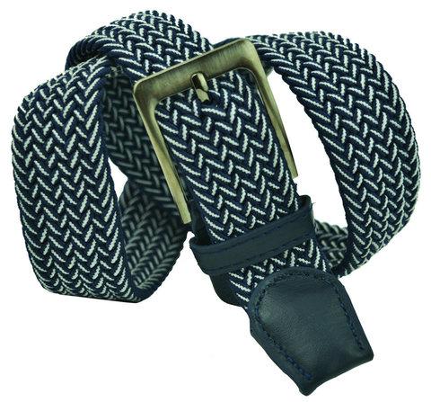 Ремень-резинка текстильный бело-синий 35 мм 35Rezinka-192