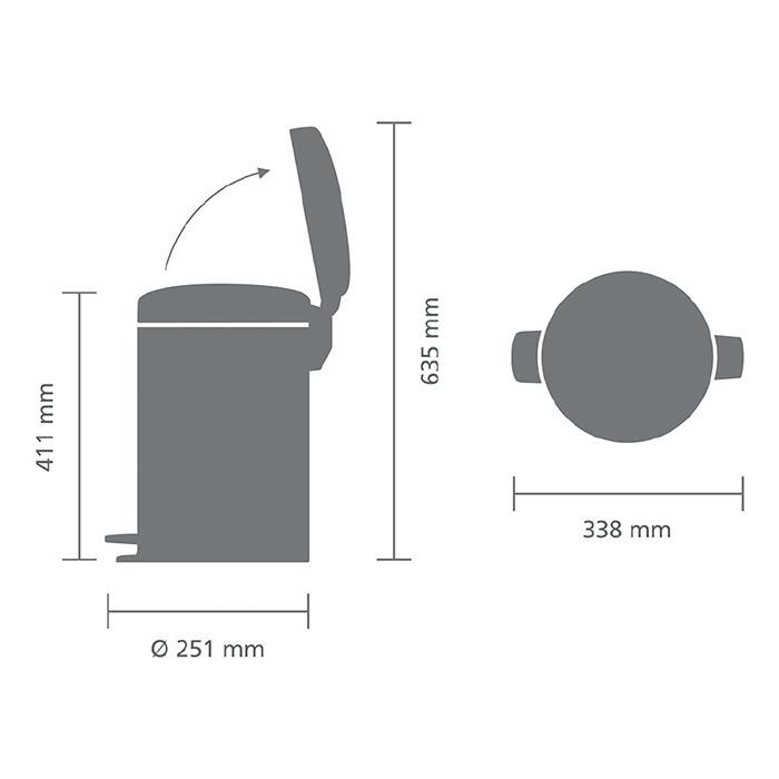 Мусорный бак newicon (12 л), Стальной полированный, арт. 113581 - фото 1