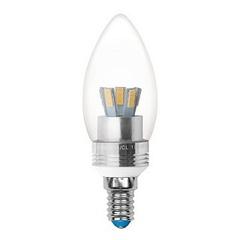 Лампа светодиодная (07890) E14 5W 3000K свеча прозрачная LED-C37P-5W/WW/E14/CL ALC02SL