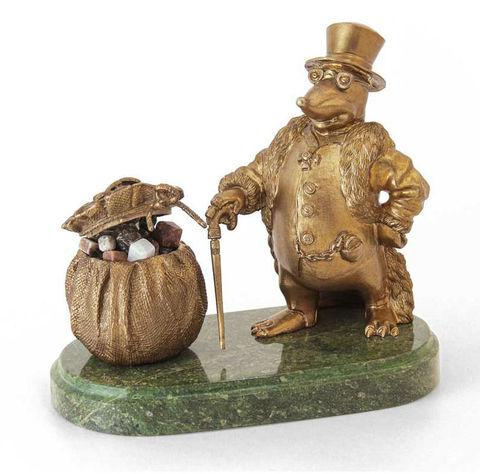 Денежный крот-банкир из бронзы