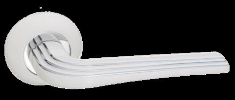 Фурнитура - Ручка Дверная  Renz Терамо, цвет белый/хром ЦАМ (гарантия - 12 месяцев)