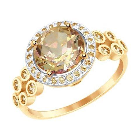 715018 - Кольцо из золота с топазами Swarovski и жёлтыми Swarovski Zirconia