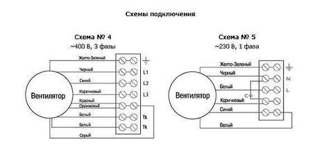 Схема подключения. Канальный вентилятор Ostberg RK 500x300 В3 / RKC 315 В3 для прямоугольных воздуховодов