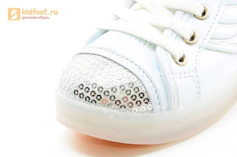 Светящиеся кроссовки с крыльями с USB зарядкой Бебексия (BEIBEIXIA), цвет белый серебряный, светится вся подошва. Изображение 18 из 18.