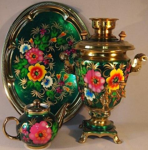 Самовар в наборе с подносом и чайником «Жостово на зеленом»