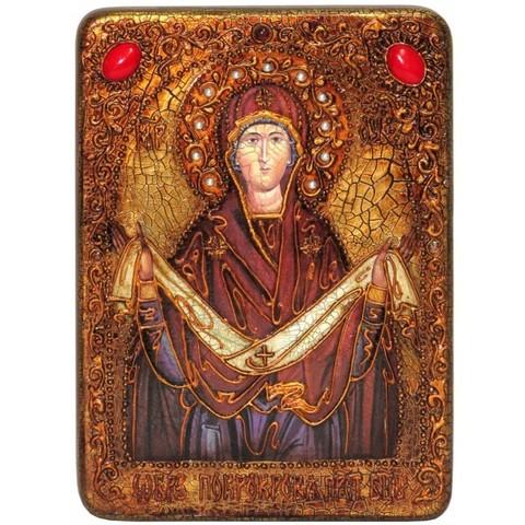 Инкрустированная рукописная икона Образ Божией Матери