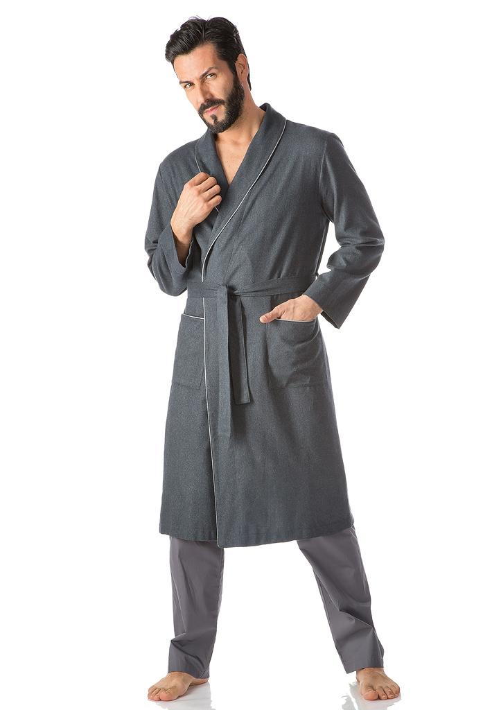Антрацитовый мужской халат B&B (Мужские халаты)