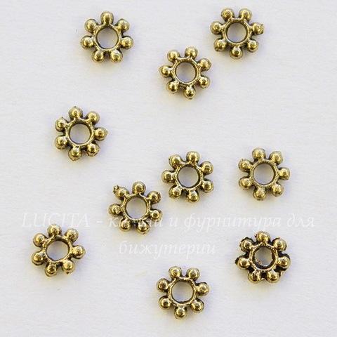 """Бусина металлическая """"Снежинка"""" (цвет - античное золото) 4 мм, 10 штук"""